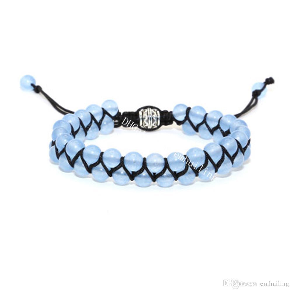 10Pcs Double Layer 6mm Dyed Chalcedony Aquamarine Crystal Gemstone Beaded Adjustable Bracelet March Birthstone Pisces Artisan Jewelry Yoga