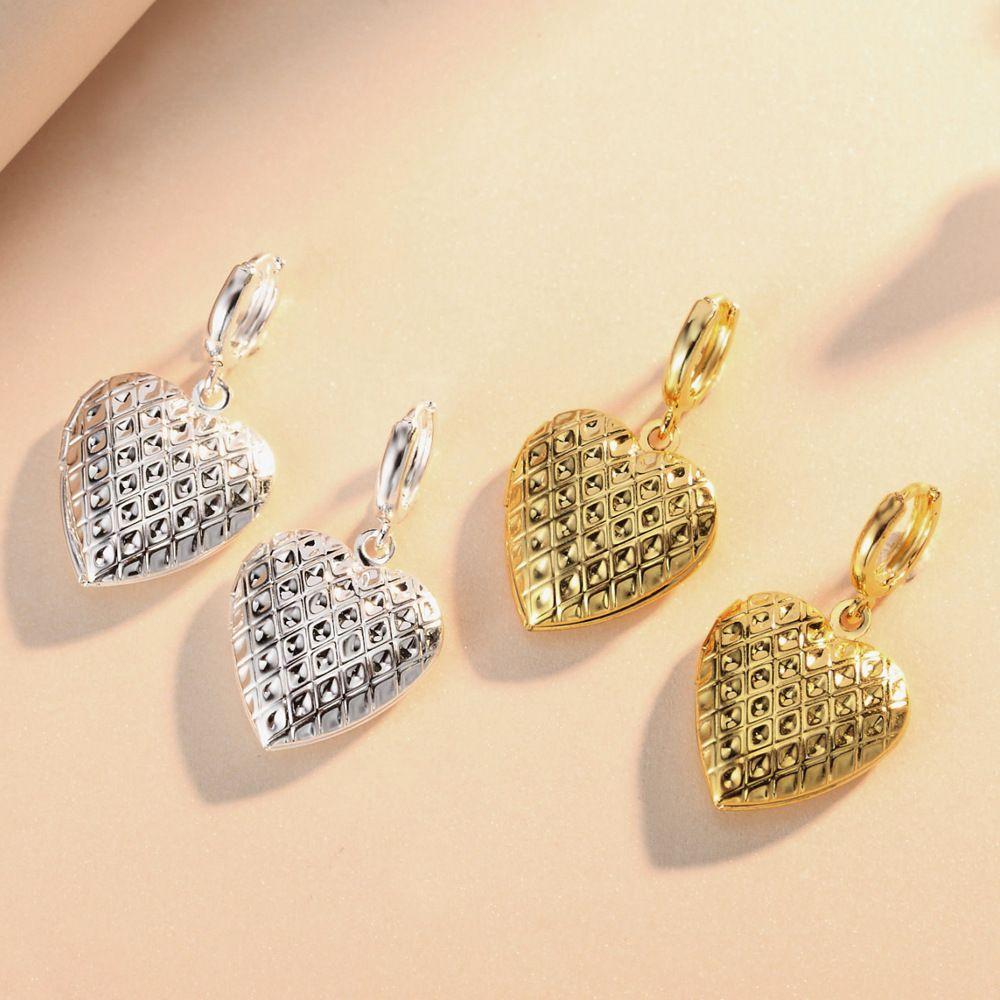 Floating Lockets heart-shaped Diamond shape phase box earrings gold Silver earrings Fits European Style Jewelry copper Charms
