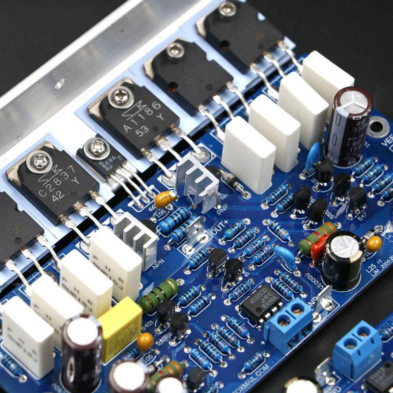 FreeShipping 2 канал L25 Интегрированный усилитель мощности Готовая Доска KTB817 KTD1047 2SA1186 2SC2837 250W + 250W 8OHM