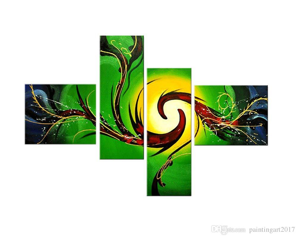 100% Hand Painted Abstract Oil Paintings on Canvas Wall Art, 4 Piece Green and Yellow Abstract Paintings for Bedroom Wall Decor