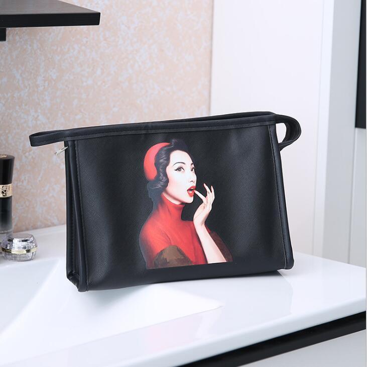 Donne Wash Bag borse di grande capienza PU impermeabile modello Cosmetic Bag Lady portatili Borse di stoccaggio di viaggio