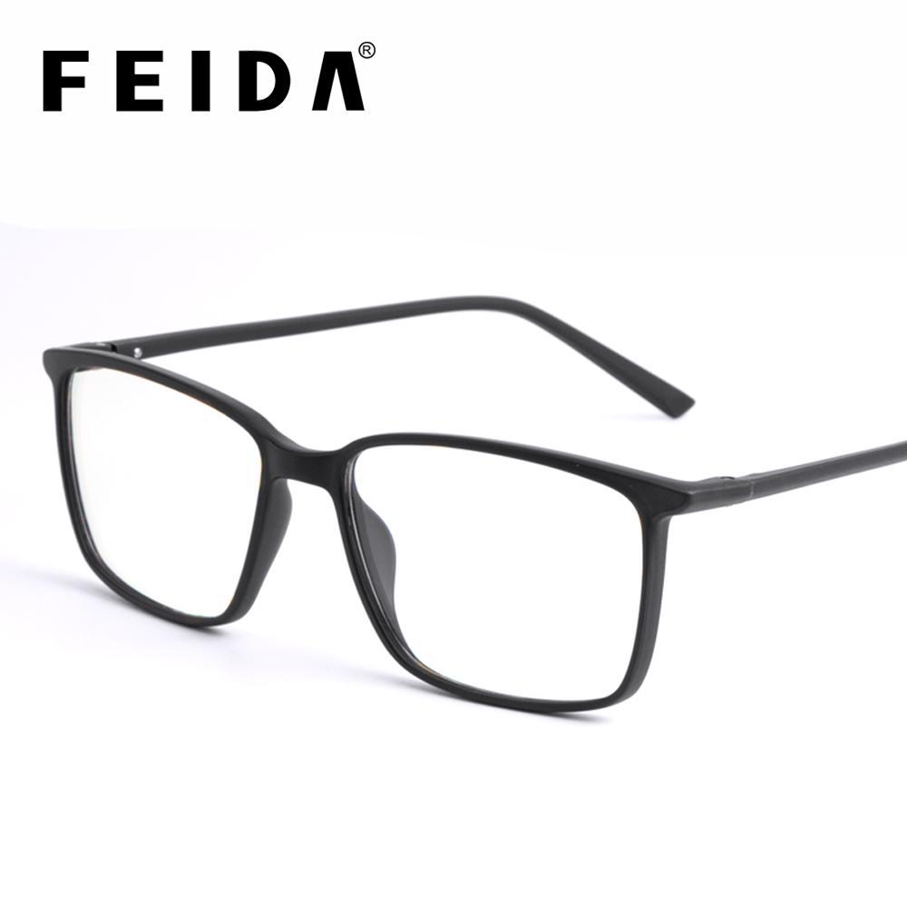 FEIDA Praça Vidros de Computador Anti Azul Luz Bloqueio de Óculos de Vidro Claro Olho Quadros para Homens Retro Dos Homens Anti Raio Azul