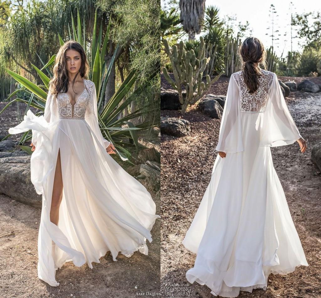 Асаф Дадуш Свадебные платья 2019 года с длинным рукавом фонаря Скромный шифоновый кружевной сексуальный сплит плавный пляж Boho Country Garden Свадебное платье