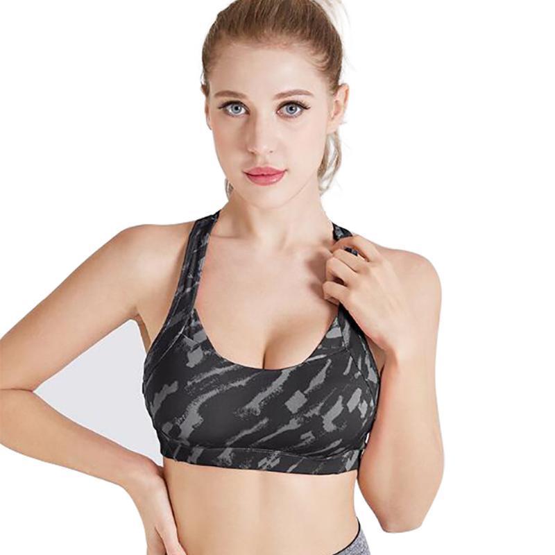 Soutien-gorge sport haut stretch respirante Top Fitness Femmes molletonnée pour Yoga Courir Gym transparente cultures Soutien-gorge dégradé Sport
