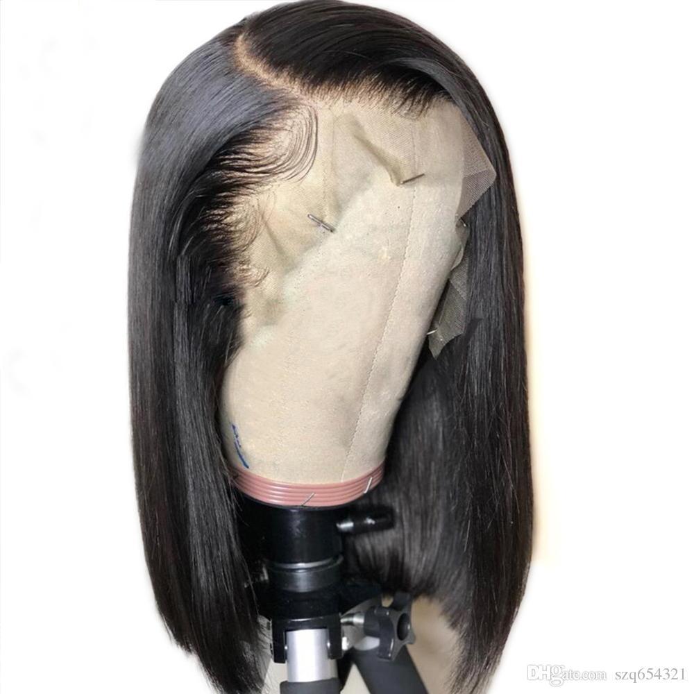Bob corto 13x6 \ 13x3 Pelucas delanteras del cordón del pelo humano del cordón para las mujeres negras 360 Peluca delantera del cordón Peluca peruana recta del pelo de Remy