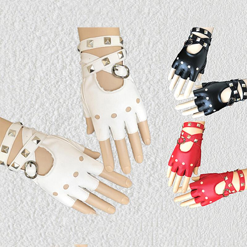 Halloween Gothic Punk Women Faux Leather Gloves Sexy Wrapped Wrist Fingerless Nightclub Stage Gloves Lady Rivet Short Half Fingers Gloves