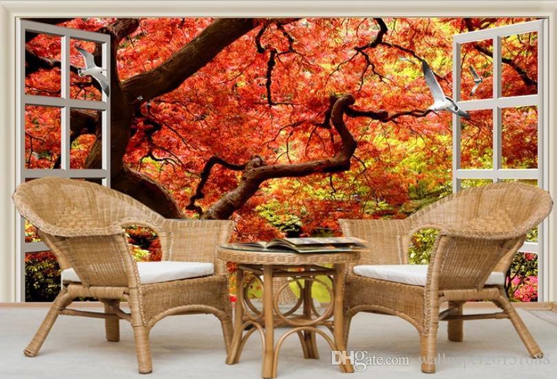 фреска обои фэнтези красный лист дерева 3D тв фоне настенная живопись