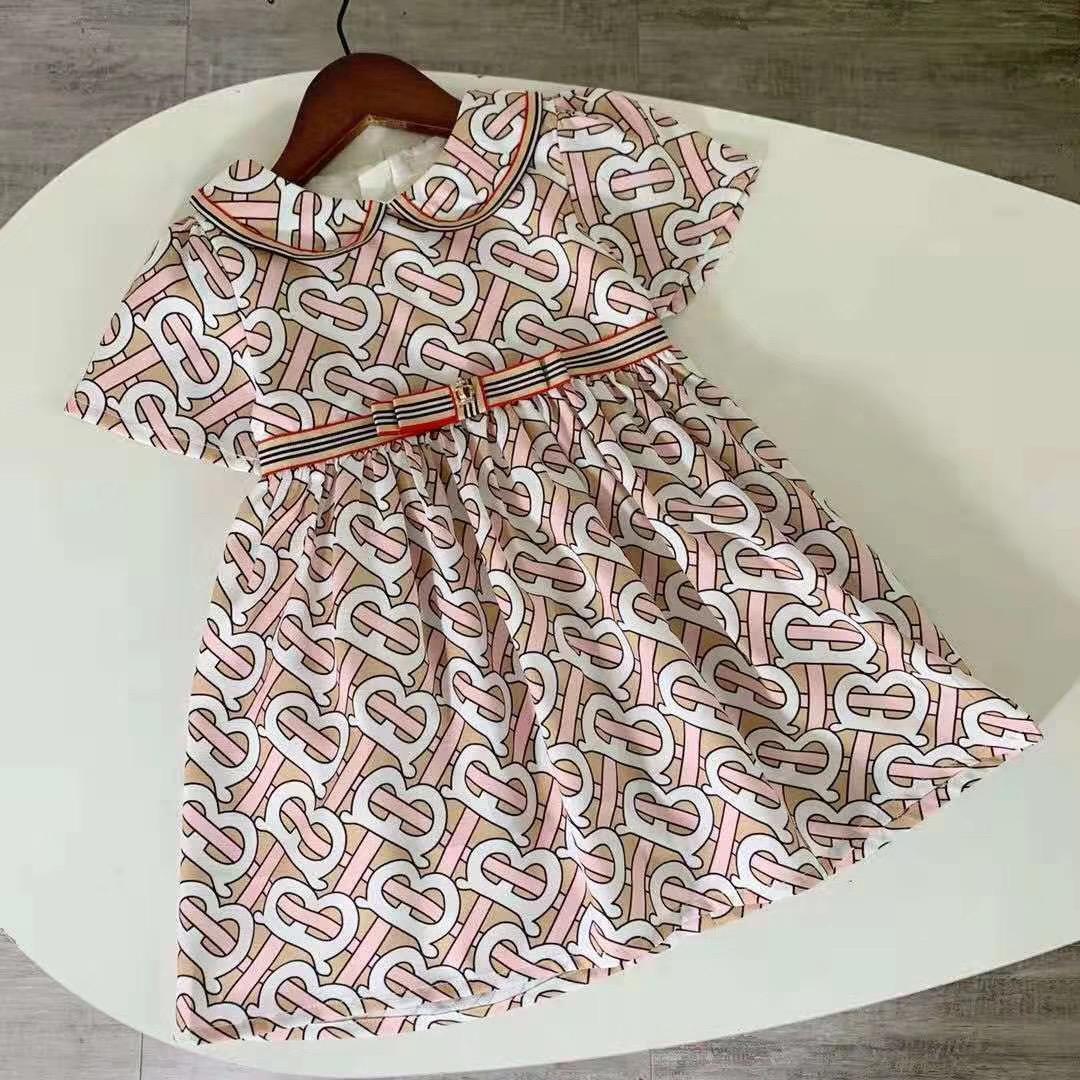 Bébés filles Robe enfants Lapel College Wind bowknot manches courtes plissées Polo Jupe enfants Vêtements décontractés Vêtements pour enfants 011106