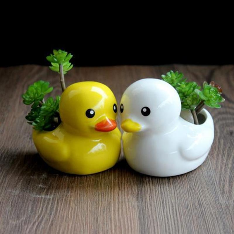 Little duck ceramic flower pot succulent planter decoration creative cute potted desktop home and garden decor ornaments