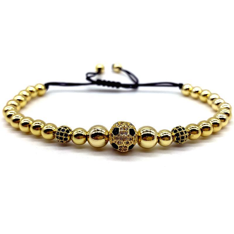 2020 Новая мода золото футбол шарика диско шарма Браслет Мужчины Роскошный черный Rope бисер браслет для мужчин подарок ювелирных изделий