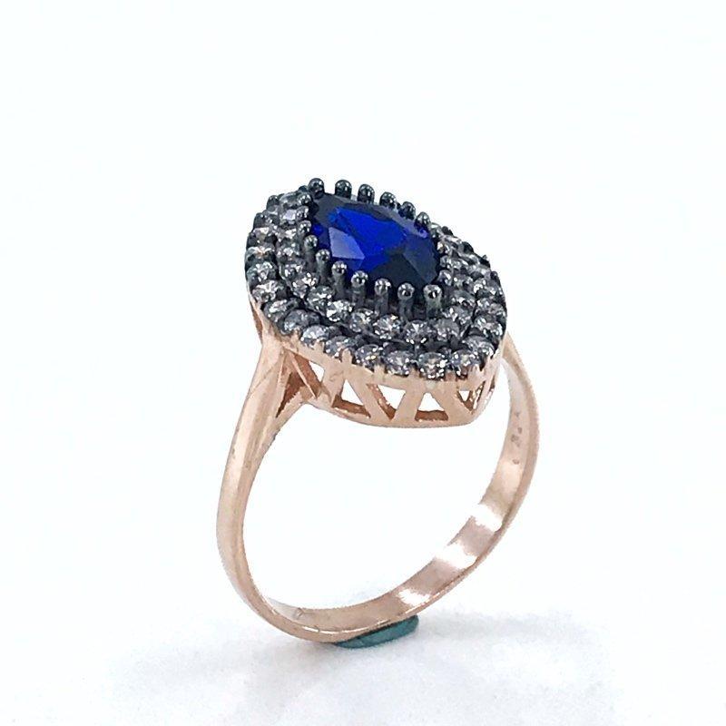 Diamond Cut Sapphire Azul Shuttle Elegante Anel de prata