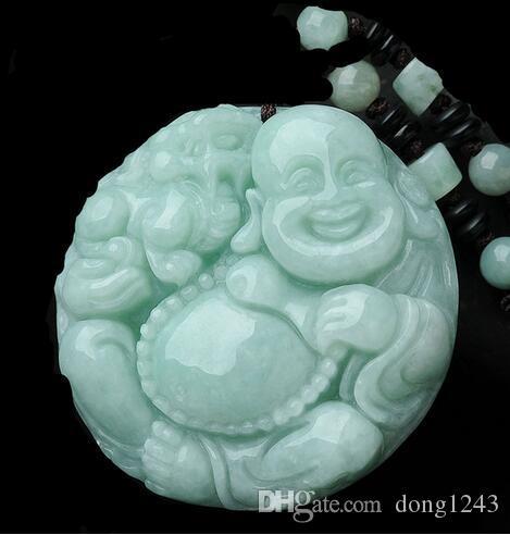 Maitreya yeşim tarzı kolye yeşim kolye, gülümseyen Buda, yeşim Buda, erkekler ve kadınlar için