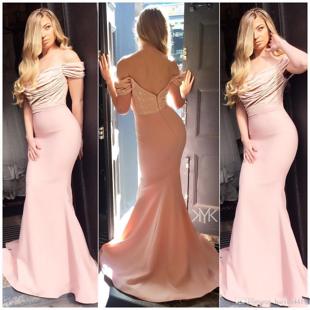 2020 Bling Barato Mermaid Drawsmaid Vestidos Lantejoulas Lace Off Ombro Pink Borgonha Lantejoulas Plus Size Wedding Guest Guest Doméstica de Vestidos de Honra