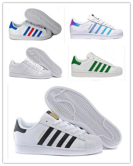 2019 Superstar Original Blanc Hologram Iridescent Junior Or Superstars Baskets Originals Super Star Femmes Hommes Sport Casual Chaussures de sport 36-45