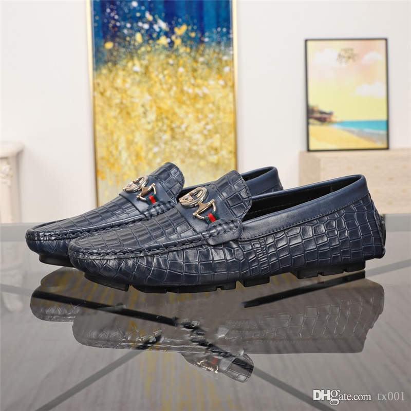 Новые мужские мокасины Крокодил вечернее платье бизнес свадьба итальянская кожа рельефный Мюллер золотая кожаная обувь воздух Повседневная обувь топ Qua