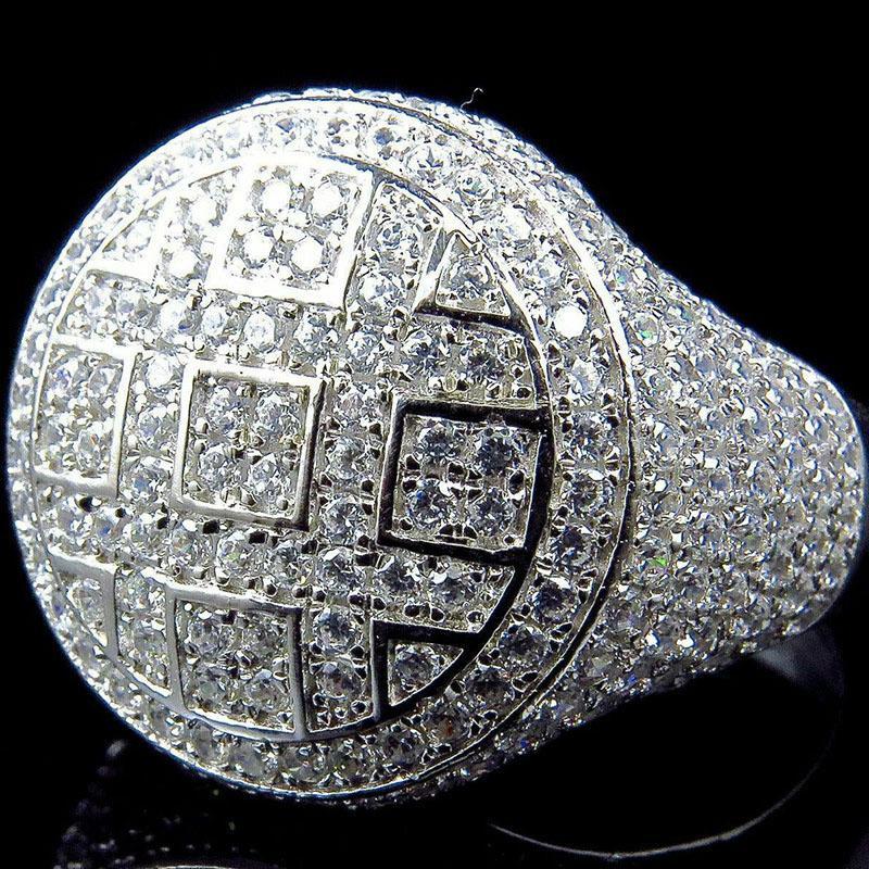 Rodada anéis dos homens cor prata para fora congelado Cubic Zircon Anel Jóias Presentes presentes para homens