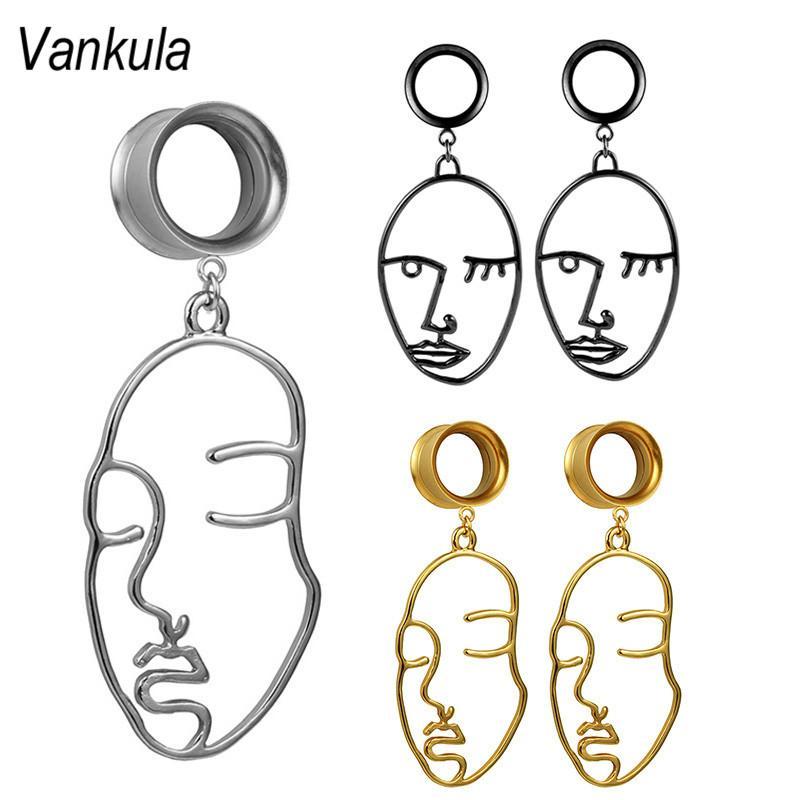 La perforación del cuerpo Vankula oído de la joyería joyería de medidores enchufes túneles de acero inoxidable Cara cuelga los pendientes Expander para el regalo