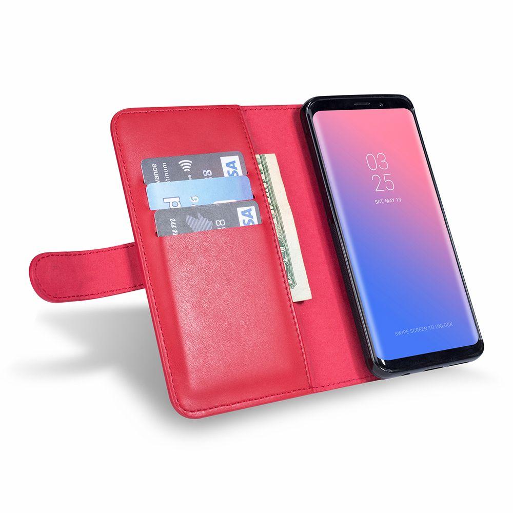 Samsung S10e S10 S8 S9 Artı Not Deri Cüzdan Kılıf 8 Not Samsung 9 Manyetik Çıkarılabilir Kapak çevirin Kart Yuvası Cep