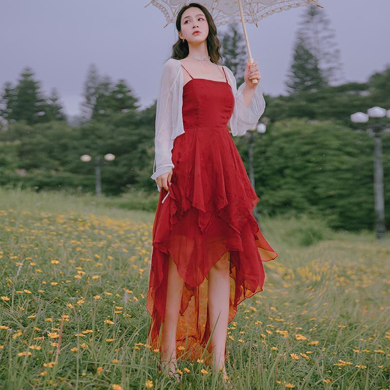 High Quality Serie Partei-Kleid Red Spaghetti-Bügel-Ferien Urlaub Hochzeit Abend Guest reizend Frauen Schichten asymmetrischer Saum Kleid 1986