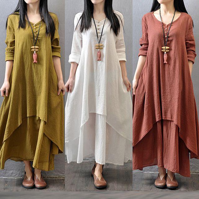 5 색 M-XXL 여성면 리넨 맥시 드레스 긴 소매 캐주얼 보보 카프 탄 튜닉 비대칭 플러스 사이즈