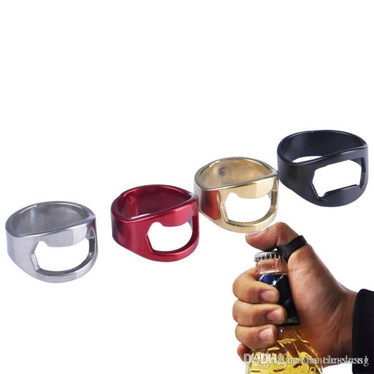 Yaratıcı Mini Bira Şişe Açacağı Paslanmaz Çelik Parmak Yüzük Açıcı Bira Kapak Açılış Temizleyici Mutfak alet Bar Araçları