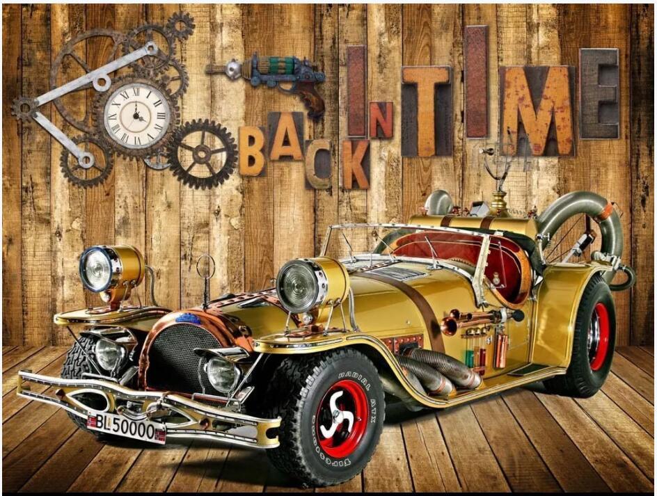 3D Wallpaper individuelle Fototapete Oldtimer Retro-Alphabet auf Holzbrett Hauptdekor-Raum 3D Wandbilder leben Tapete für Wände 3 d