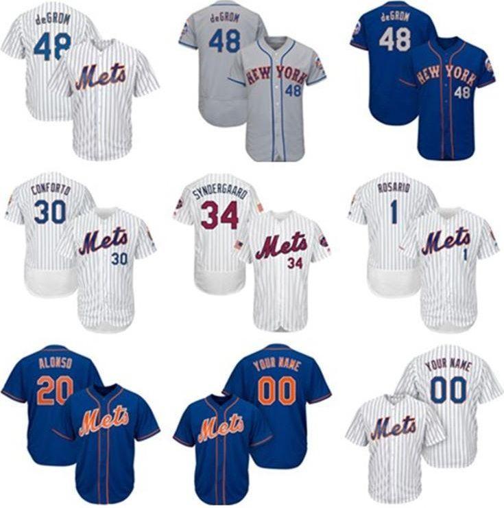 NY MET BASEBALL JERSEY MENS Knit Jersey Pete Pete Alonso Jacob Degrad Noah Syndergaard Michael Conforto Amed Rosario Custom Jerseys