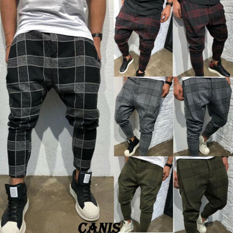 2019 neue marke mode mens casual fitness plaid hosen gerade beinhose bleistift jogger cargohose