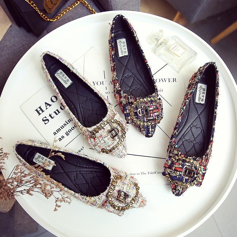 트위드 플랫는 발레리나 로퍼 Zapatos 드 Mujer P515에 여성 우아한 누나, OL 작업 신발 편안한 슬립 신발