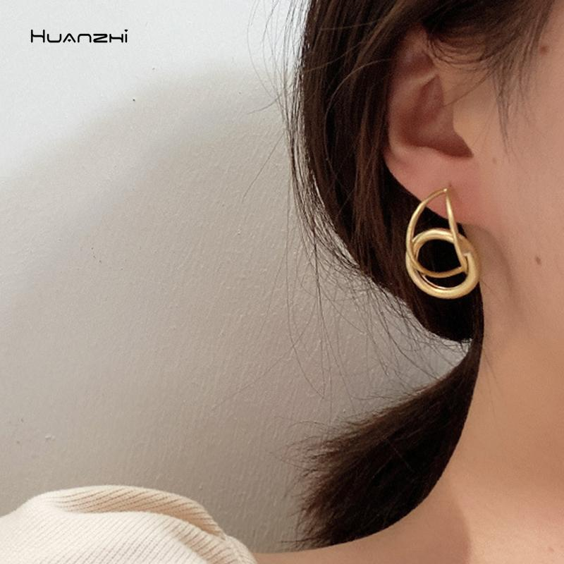 HUANZHI 2020 New Retro Silver Gold Irregular Wave Twisted Geometric Metal statement Stud Earrings for Women Girls Jewellery