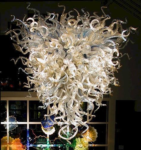 Beige Milky verre soufflé Lustre Ampoules à LED Art Lampes en verre intérieur Pendentif Lampes Showroom Décor