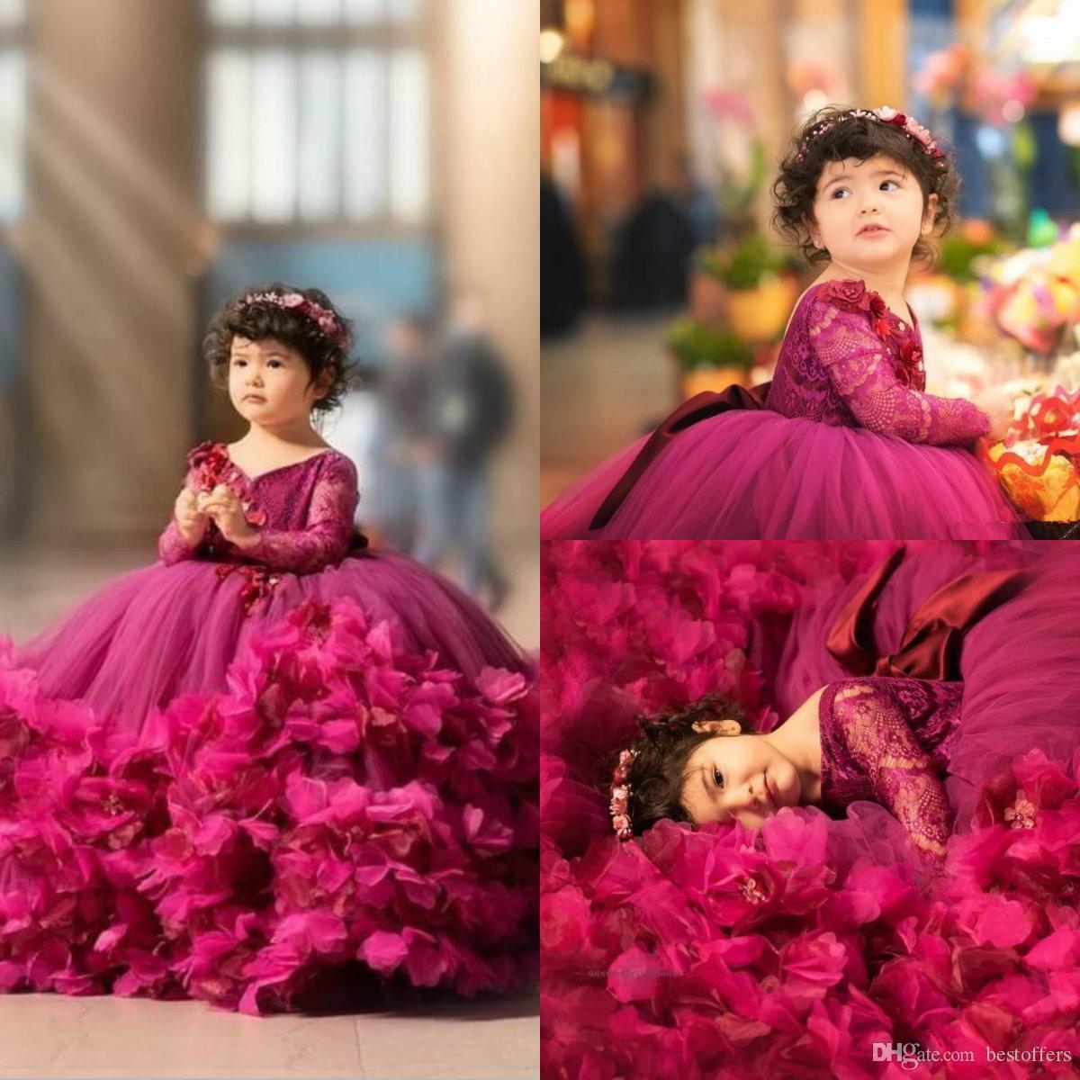 2020 Fuchsia Ball Gown Girl's Pageant Klänningar Lace Top Långärmade Tiered 3D Blommor Puffy Tulle Födelsedag Prom Lökar Kids Formal Wear