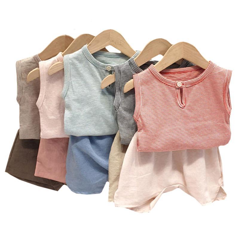 Verano de algodón camisetas rayadas tapas + pantalones cortos 2pcs del bebé infantil del juego de los niños muchacha del bebé recién nacido ropa juego de ropa