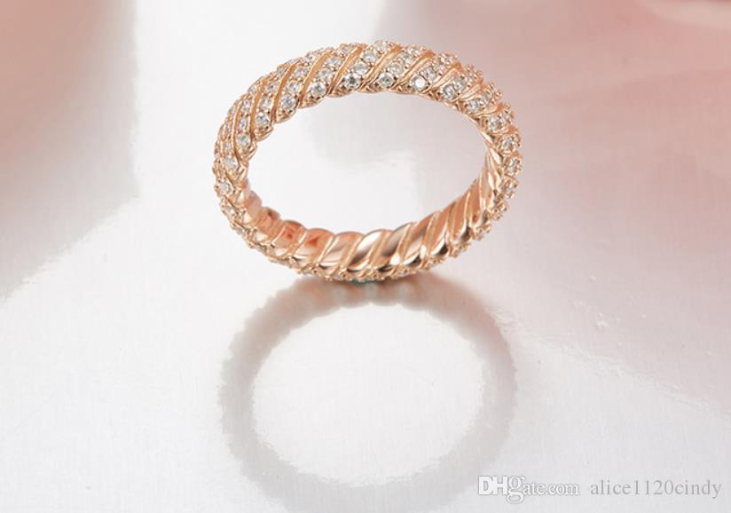 925 anneaux en argent sterling pour les femmes Micro Zircon Twisty ancre corde ligne bague en argent design célèbre marque de bijoux de mariage géométrique