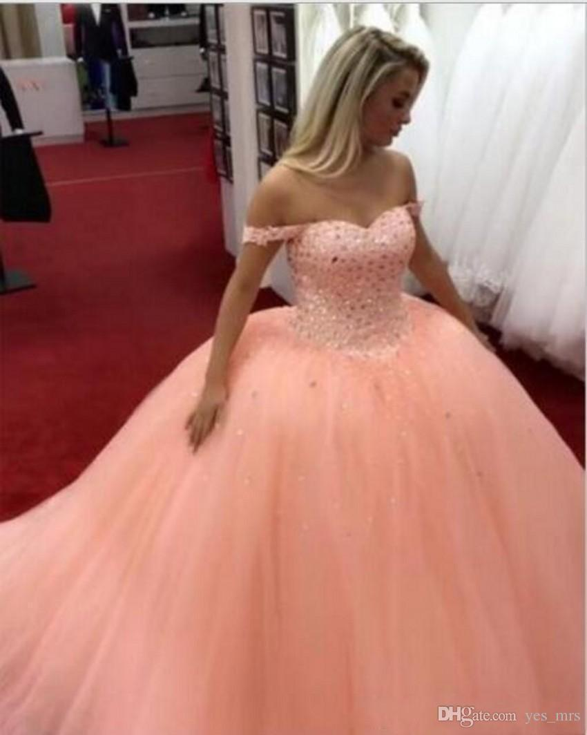 2020 New Peach Ball Gown Quinceanera Dresses Off Shoulder Crystal Beading Tulle Open Back Sweet 16 Plus Size Party Dress Prom Evening Gowns
