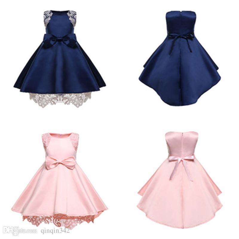 2019 جديد ملابس زرقاء الوردي الاطفال مصمم ملابس الفتيات الفتاة مساء القوس اللباس الطفل الأميرة اللباس هالوين اللباس