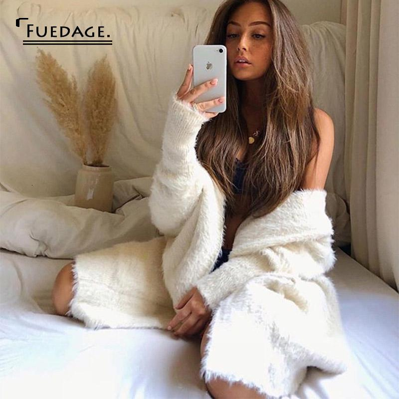 Fuedage Automne Hiver 2019 Cardigan en maille Manteau Femme manches longues col en V sashed Bandage sexy long Cardigan Femme Pull