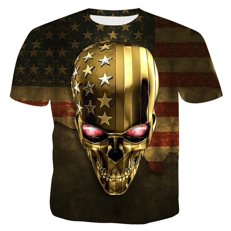 Goldschädel-T-Shirt 3D neue Art und Weise kühl T-Shirts für Männer Männer-Hipster Schädel-Druck-Aussenseiter-T-Shirt Billigere Tops Sommer-Kurzschluss