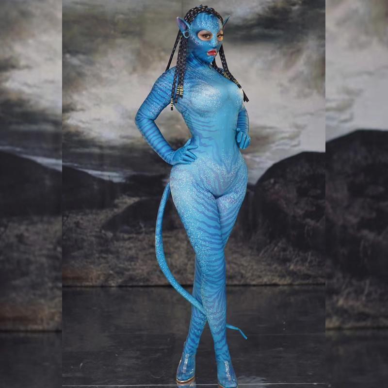 Halloween-Party-Outfits Tier Rolle Kostüme Frauen Elf Maske elastische Strumpfhosen Jumpsuits Bühnen Singer Wear Tänzerin Tanz Kostüme