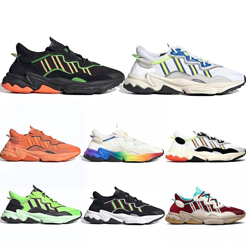 Adidas Ozweego Corrida humana Trilha Solar Afro Pack Homens Mulheres Sapatos de Corrida Nerd Pharrell Williams HU SOLARHU Preto Branco Esporte Tênis Tamanho