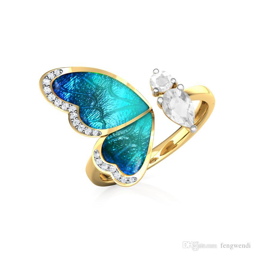 Anillo de piedra circón mariposa creativa anillos abiertos cristal blanco para la Mujer de compromiso joyería matrimonio color oro anillos ajustables