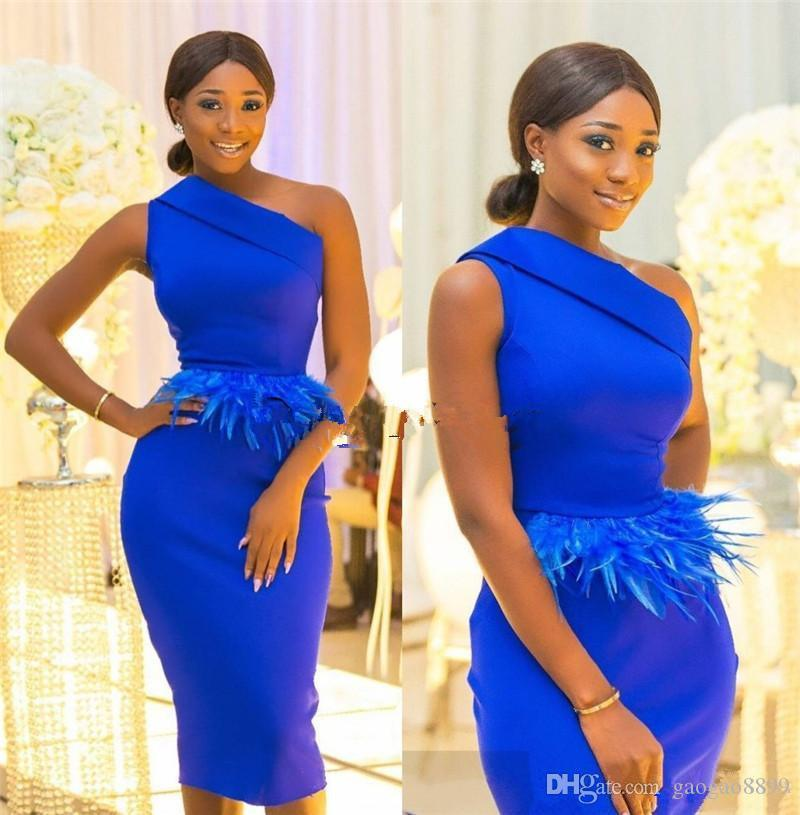 2019 African Elegant Royal Blue Sheath Knee Length evening Dresses one shoulder with ostrich Feather Short Satin Prom Gown Custom Made