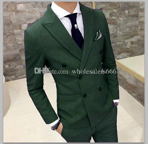 Double boutonnage Groomsmen Peak Topsed Groom Tuxedos Hommes verts Costumes Mariage / Bal / Dîner Meilleur Homme Blazer (Veste + Pantalon + Cravate) W458