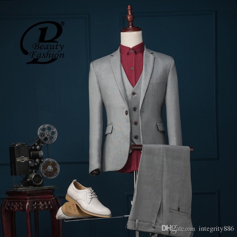 Anpassen Designe Bräutigam Smoking Kerbe Revers Zentrum Vent Männer Hochzeit Smoking Männer Jacke Blazer Mode 3-teiliger Anzug (Jacke + Hose + Krawatte + Weste) 1260