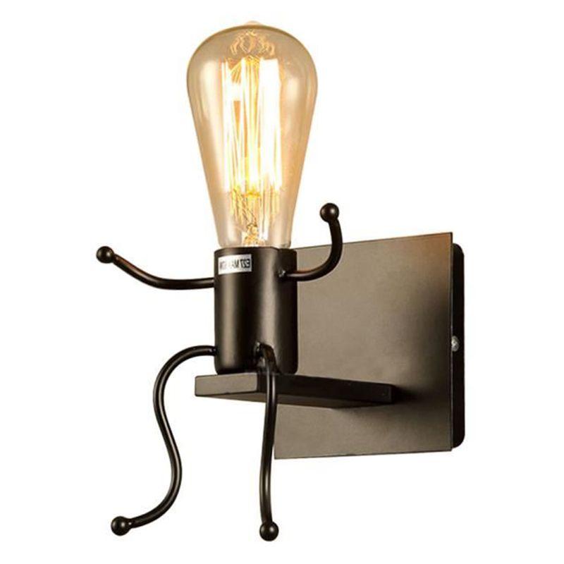 ABFU-lámpara de pared creativa E27 forma de hombre lámpara Linda luz de hierro luz de pared interior para dormitorio Oficina Cafe Bar Hotel