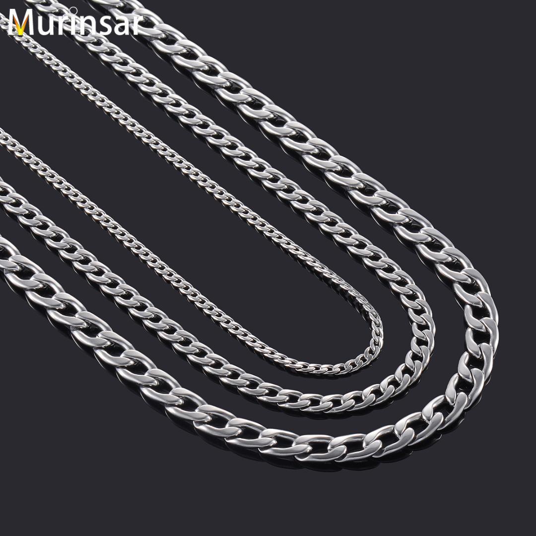 Couleur Argent Mode gros Collier solide Curb Chain Link Hommes Collier ras du cou en acier inoxydable Accessoires Homme Femme Cadeaux