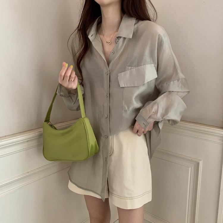 İnce Gevşek Bluz Kadınlar Katı Güneş Koruma Uzun Kollu Gömlek Mujer Artı boyutu Siyah Beyaz Bluz Şık Plaj Giyim Tatil