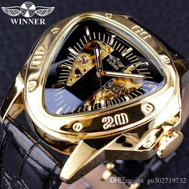 Gewinner Steampunk Fashion Triangle Golden Skeleton Movement Mysterious Men Automatische mechanische Armbanduhren Top-Marke