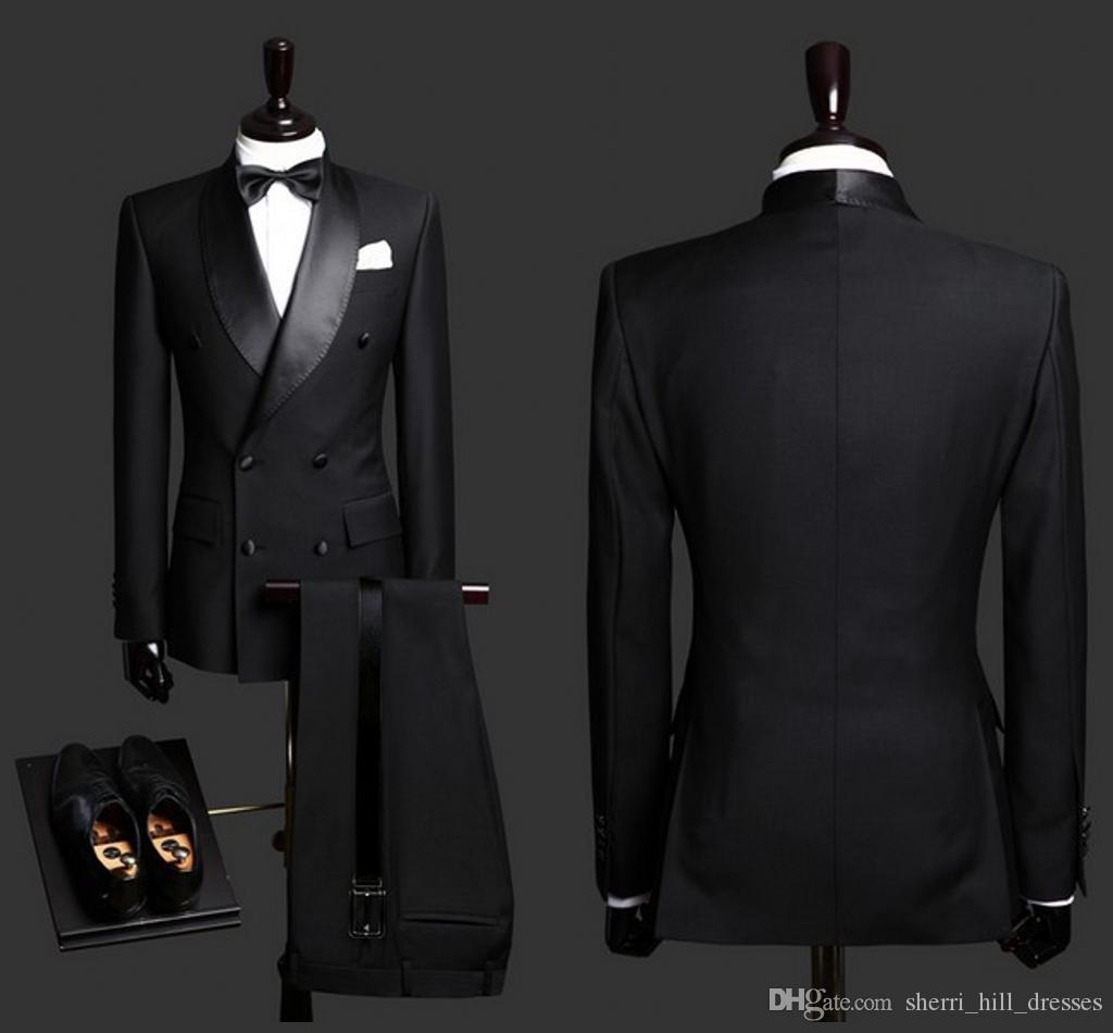 2020 الدعاوى حار بيع الرجل الأسود العريس البدلات الرسمية شال طية صدر السترة صالح سليم العريس ملابس رسمية أفضل رجل دعوى للحصول على حفلات الزفاف (سترة + سروال)