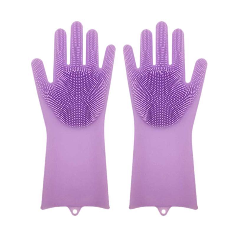 1 par de silicona Plato de guantes de goma depurador de la categoría alimenticia de limpieza de la esponja guantes para lavar platos Brushs magia de silicona (púrpura)
